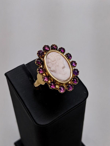 Cameo and Amethyst Ring