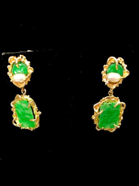 Carved Jade Clip on Dangle Earrings
