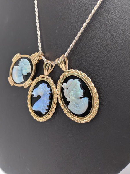 Vintage Opal Cameo Pendants