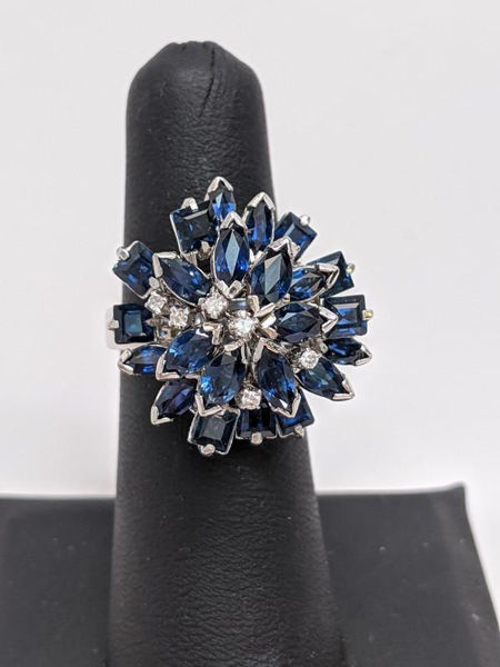 Vintage Sapphire Cluster Ring