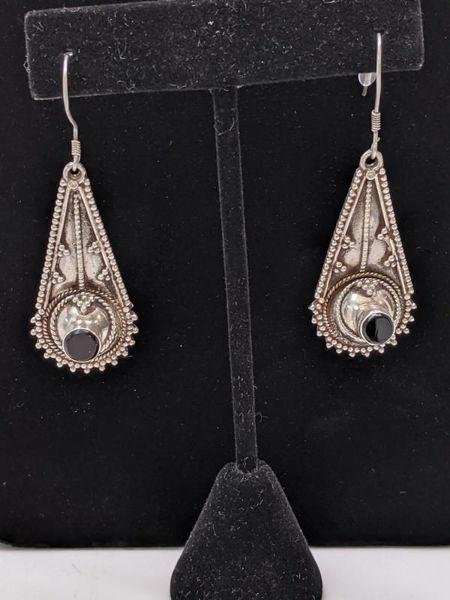 Vintage Silver Onyx Earrings
