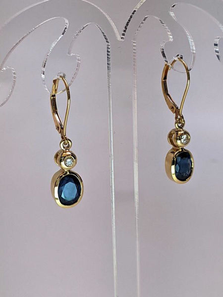 Picture of Diamond and Sapphire Drop Earrings