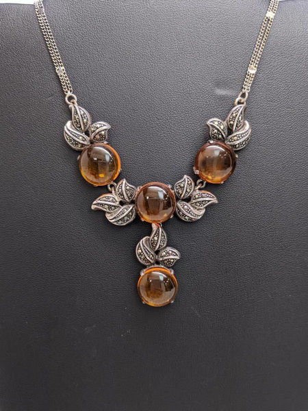 Vintage Amber and Marcasite Necklace