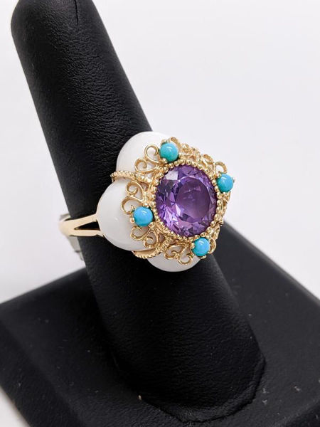 Vintage Amethyst, Turquoise, and Jade Ring
