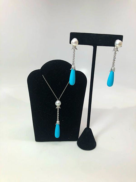Turquoise, Pearl, & Diamond Set