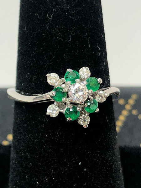 Picture of Emerald and Diamond Cluster Ring