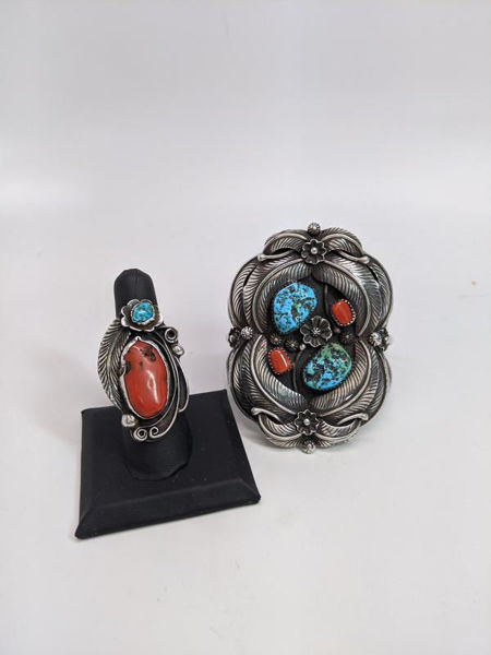 Signed Navajo Cuff and Ring Set