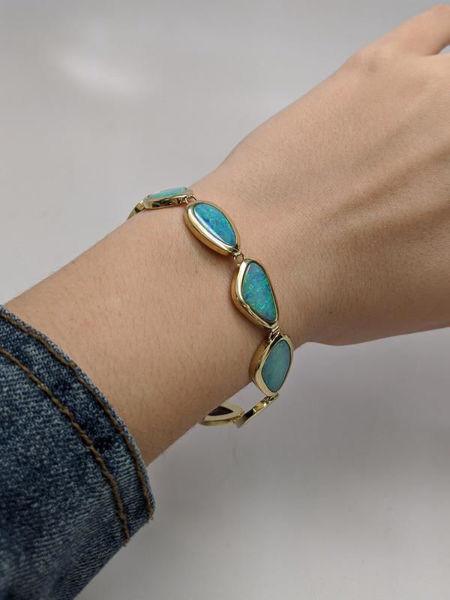 Gold Opal Bezel Bracelet