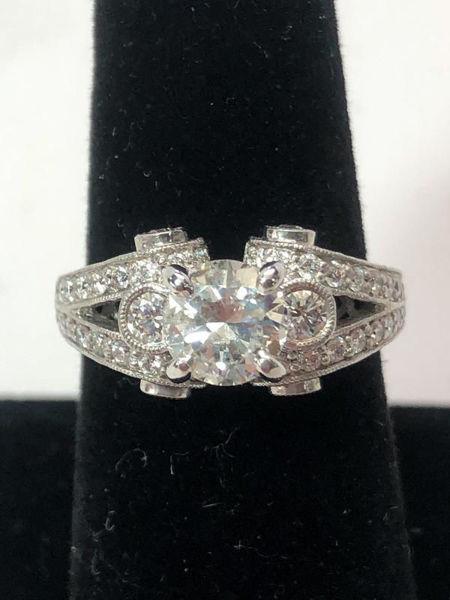 Round Engagement Ring with Milgrain