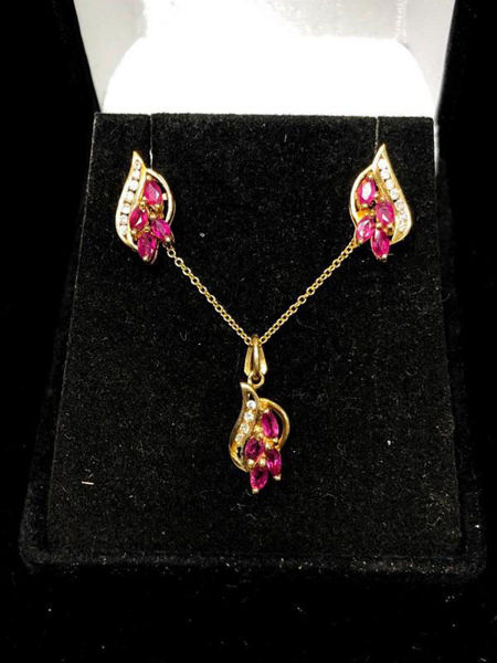 Ruby and Diamond Necklace/Earring Set