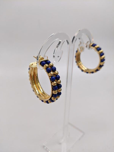 Picture of Le Gi Lapis and Gold Hoop Earrings