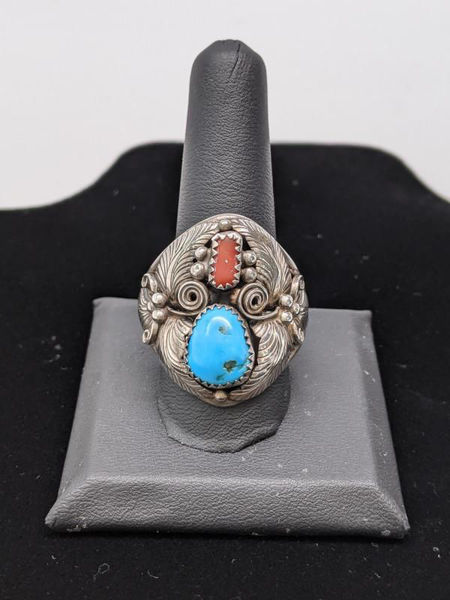 Picture of Men's Turquoise and Coral Ring