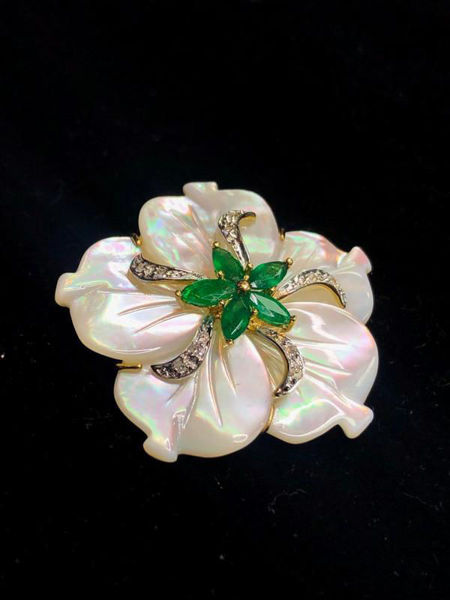 Picture of Mother of Pearl and Emerald Pearl Pendant