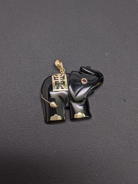 Picture of Onyx and Gold Elephant Pendant