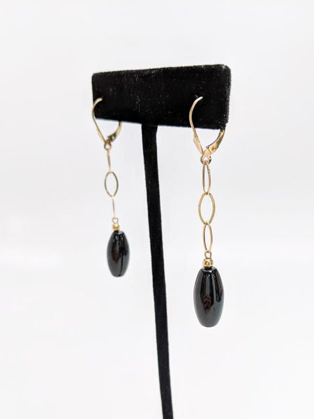 Picture of Onyx and Yellow Gold Dangle Earrings
