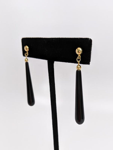 Picture of Onyx and Yellow Gold Drop Earrings
