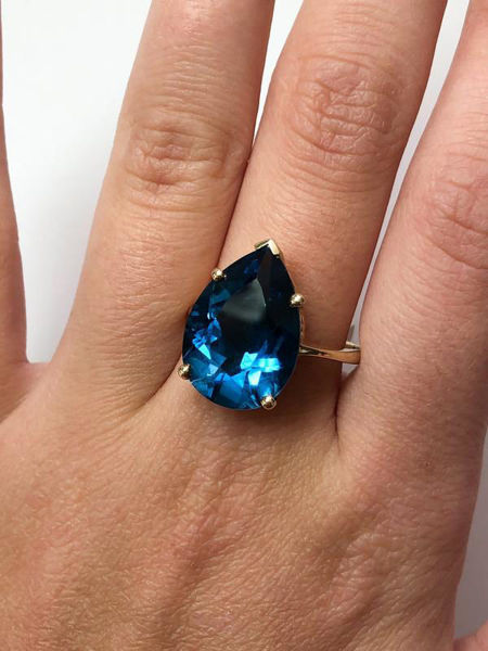 Picture of Pear Cut Blue Topaz Ring