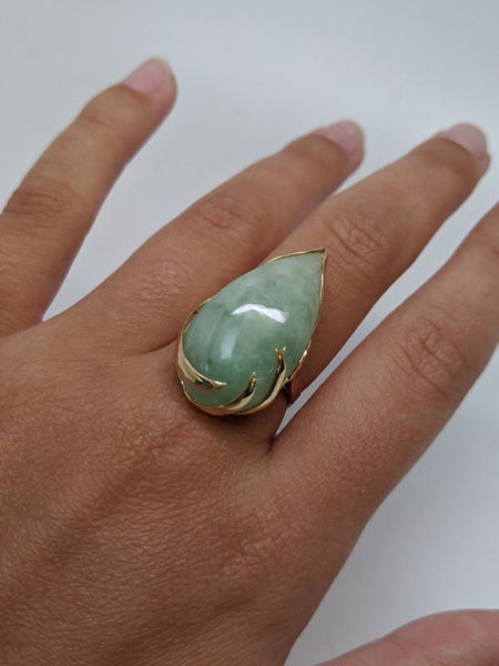 Picture of Pear Cut Jade Ring
